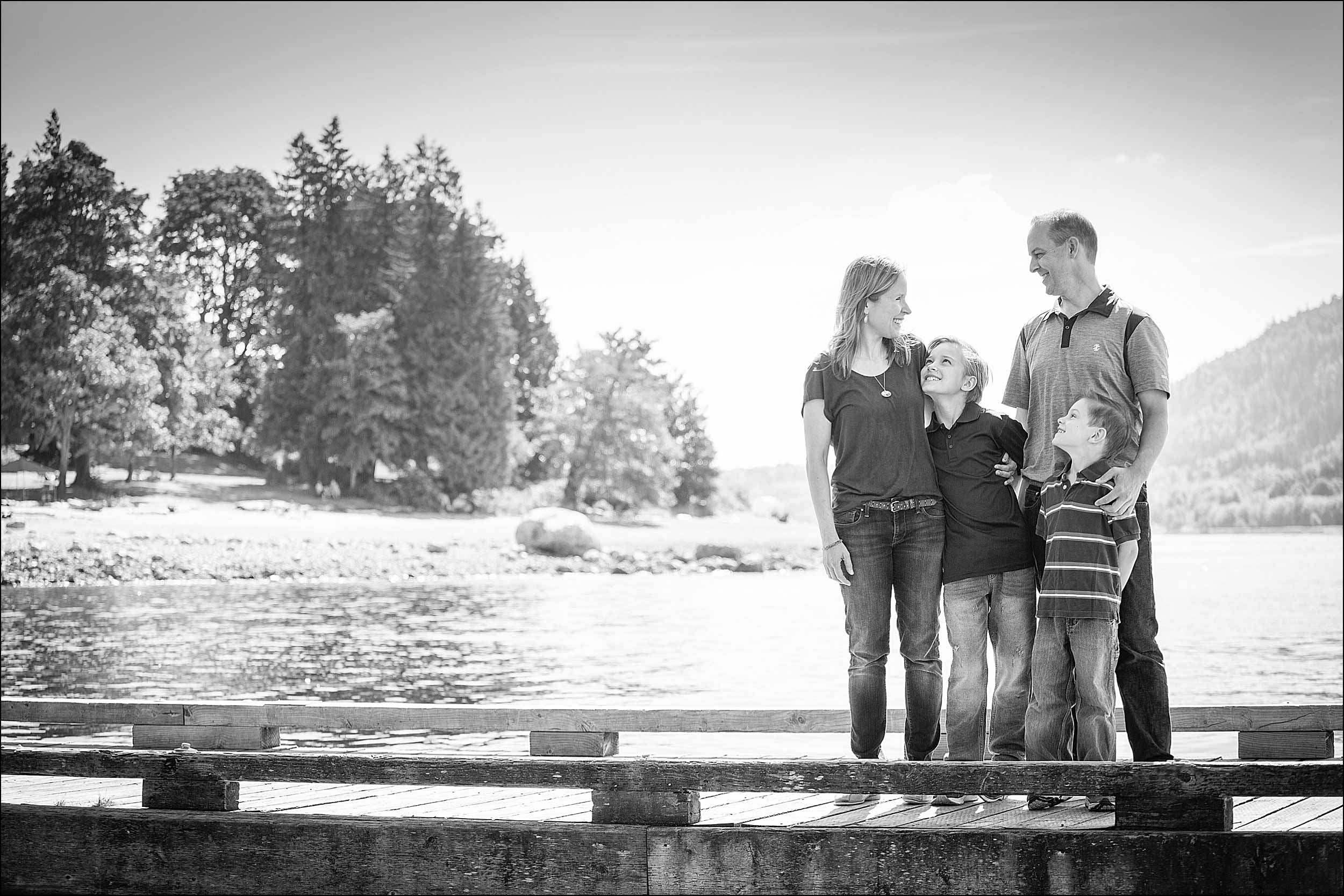 On the dock at Cates Park family photos in North Vancouver